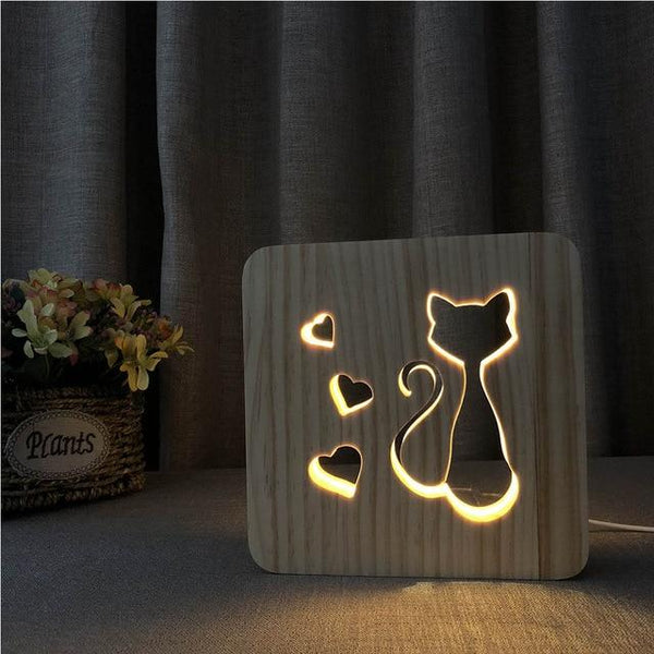 3D Wooden LED Lamp - Cat in Love