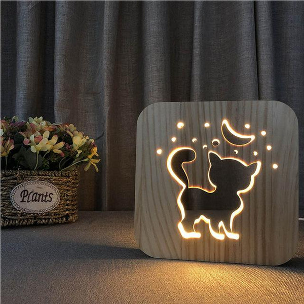 3D Wooden LED Lamp - Night Cat