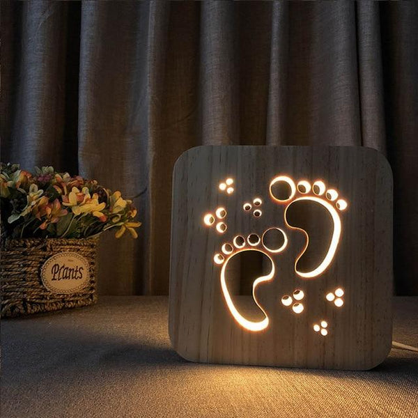 3D Wooden LED Lamp - Little Feet