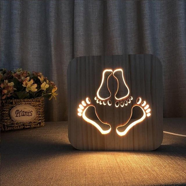 3D Wooden LED Lamp - Lovers