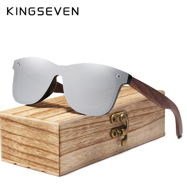 KINGSEVEN Polarized Sunglasses With Walnut Wood Frame - Silver / Black