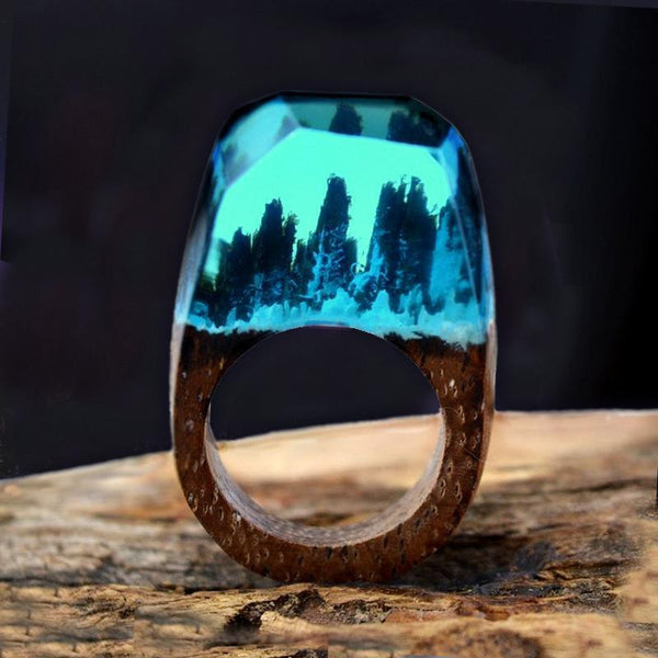 Handmade Blue Forest Wood Ring