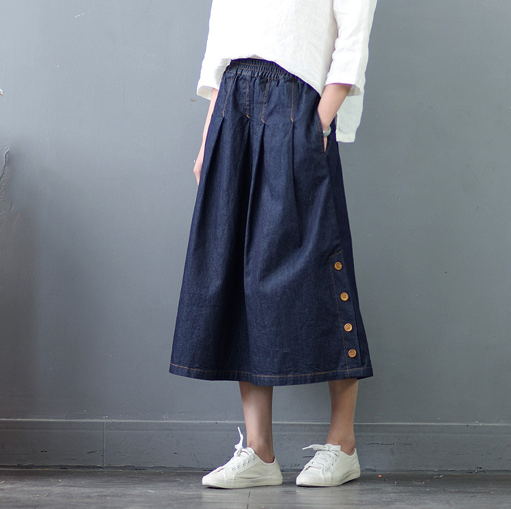 Cowboy Midi Long Denim Skirt