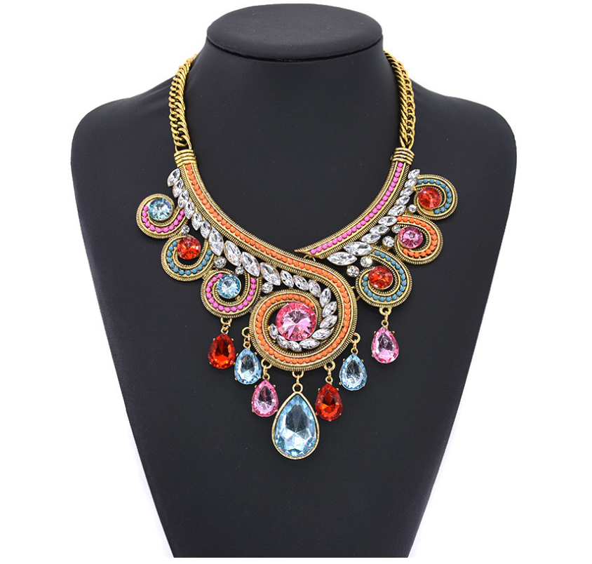 Europian Exaggerated Rice Beads Beaded Bohemia Necklaces