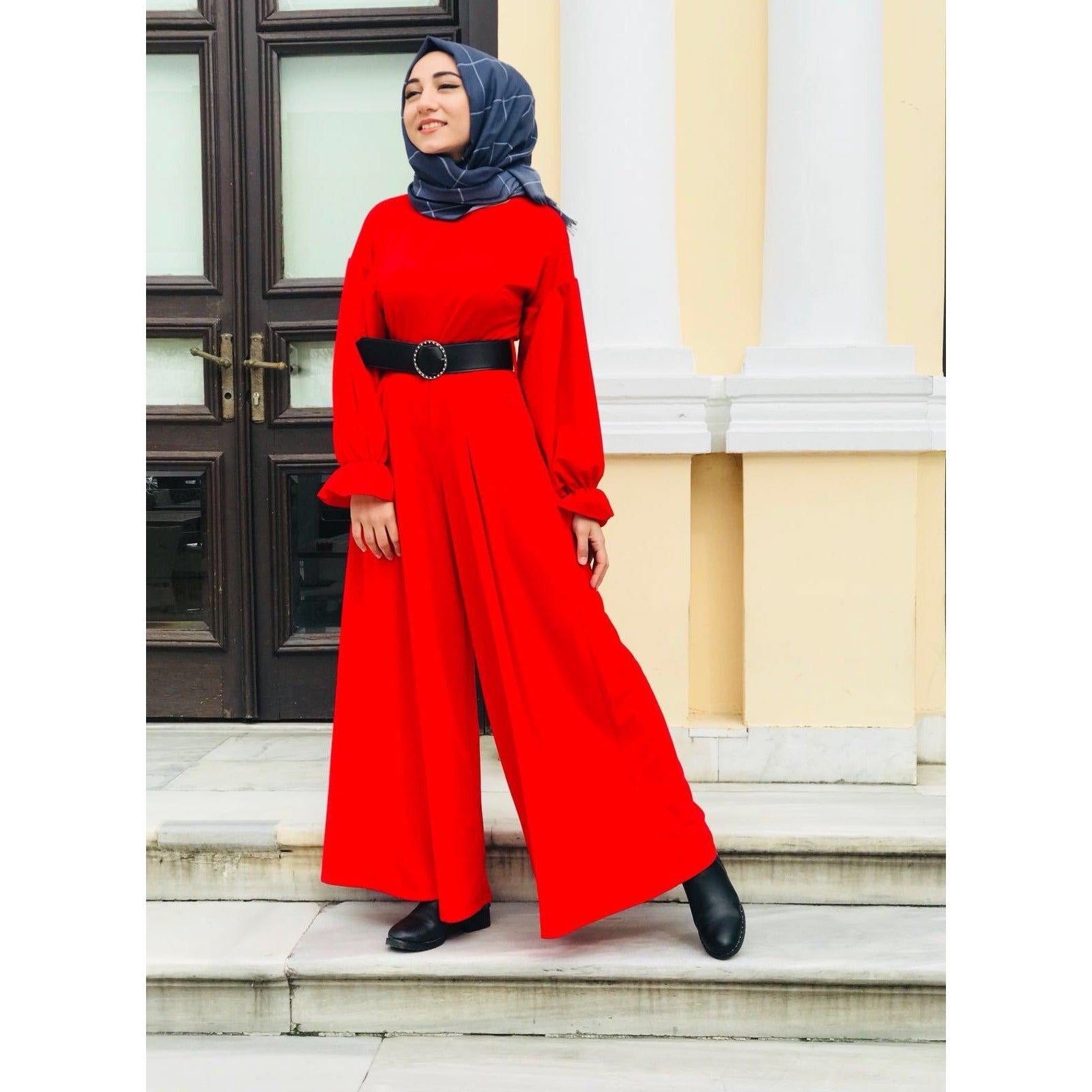 Jumpsuit - Red - with Belt