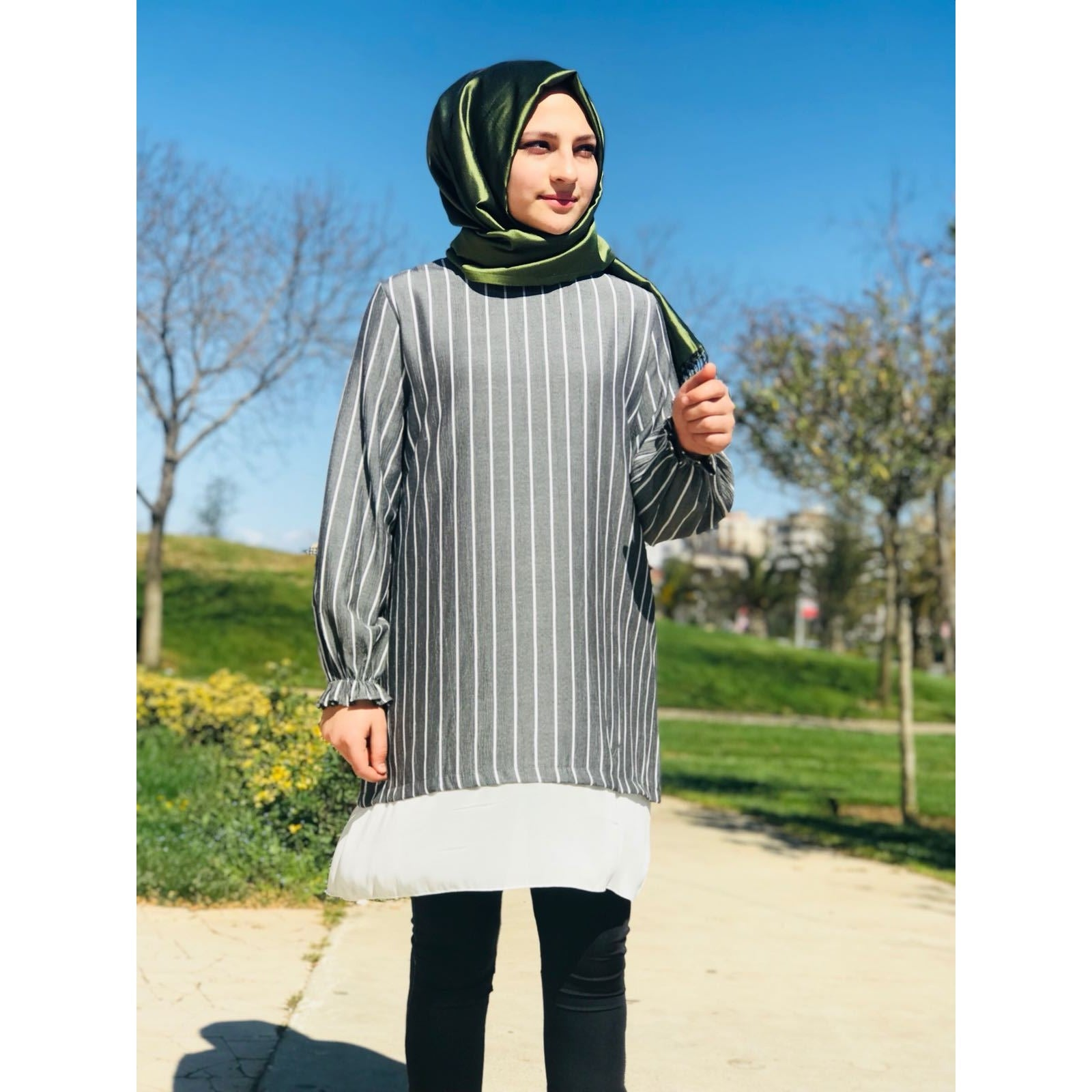 Chiffon Tunic - Grey and White