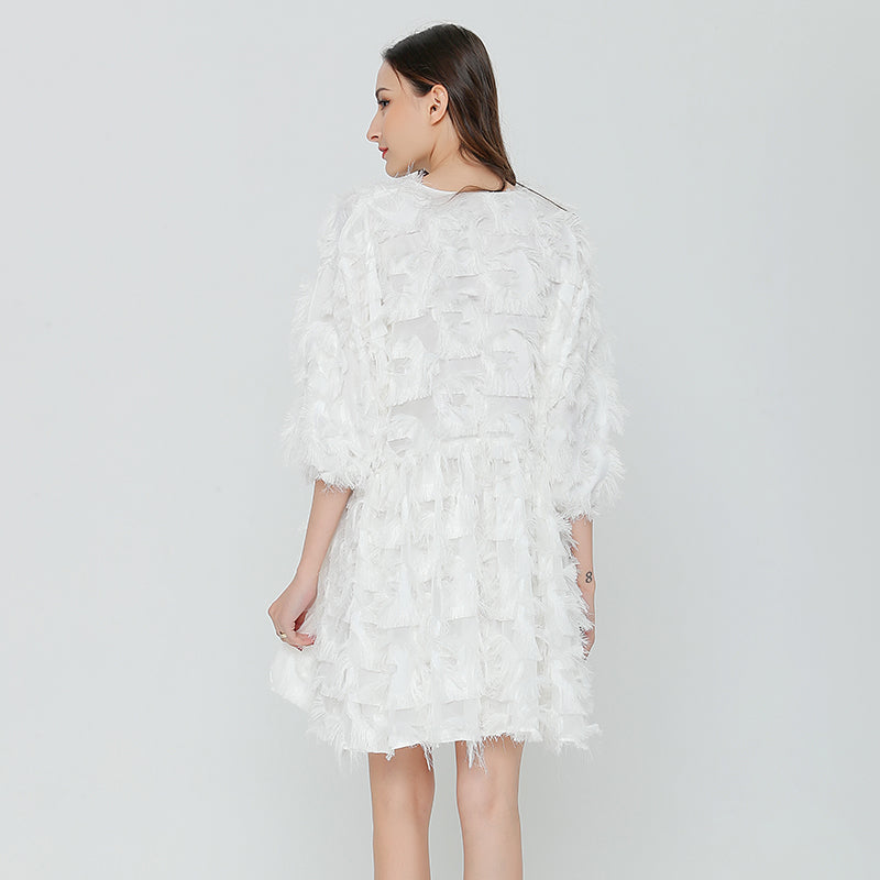 White Feathered Dress