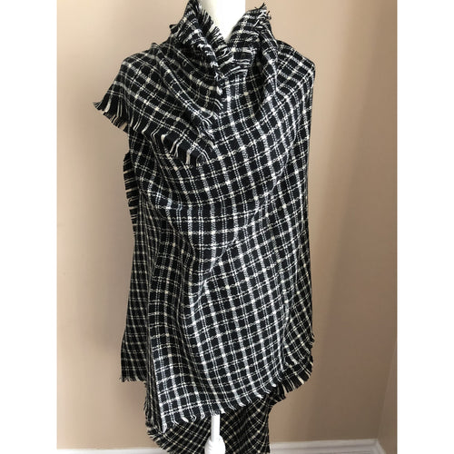 Fashion Women Oversize Square Blanket Wrap - Black and White