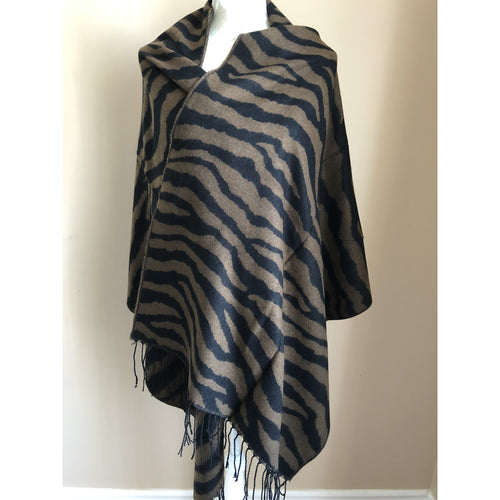 Fashion Women Rectangle Blanket Wrap - Brown and Black