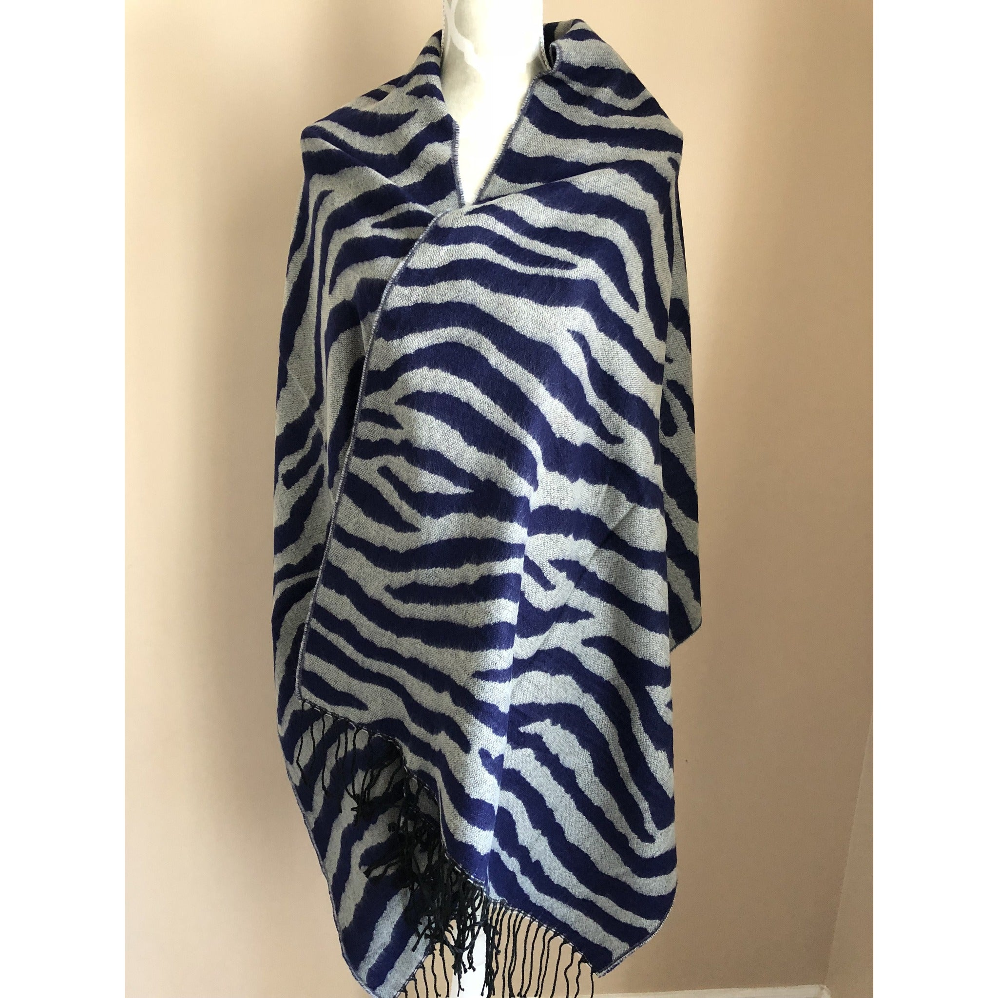 Fashion Women Rectangle Blanket Wrap - Blue and Grey
