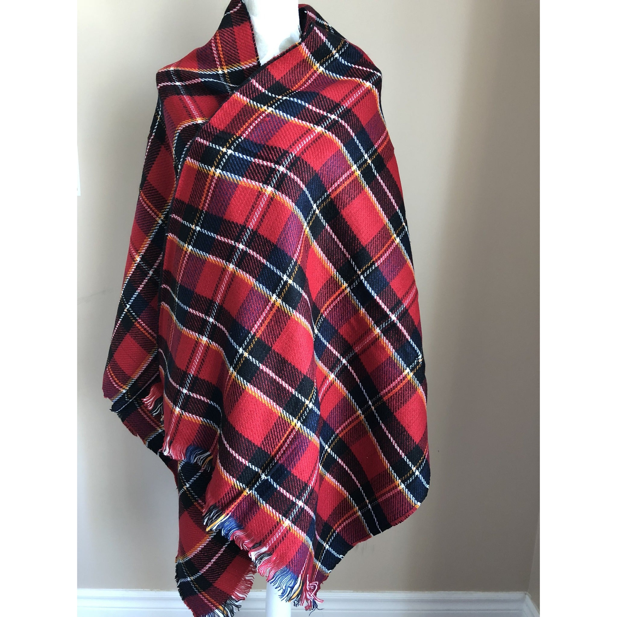 Fashion Women Rectangle Blanket Wrap - Red and Black