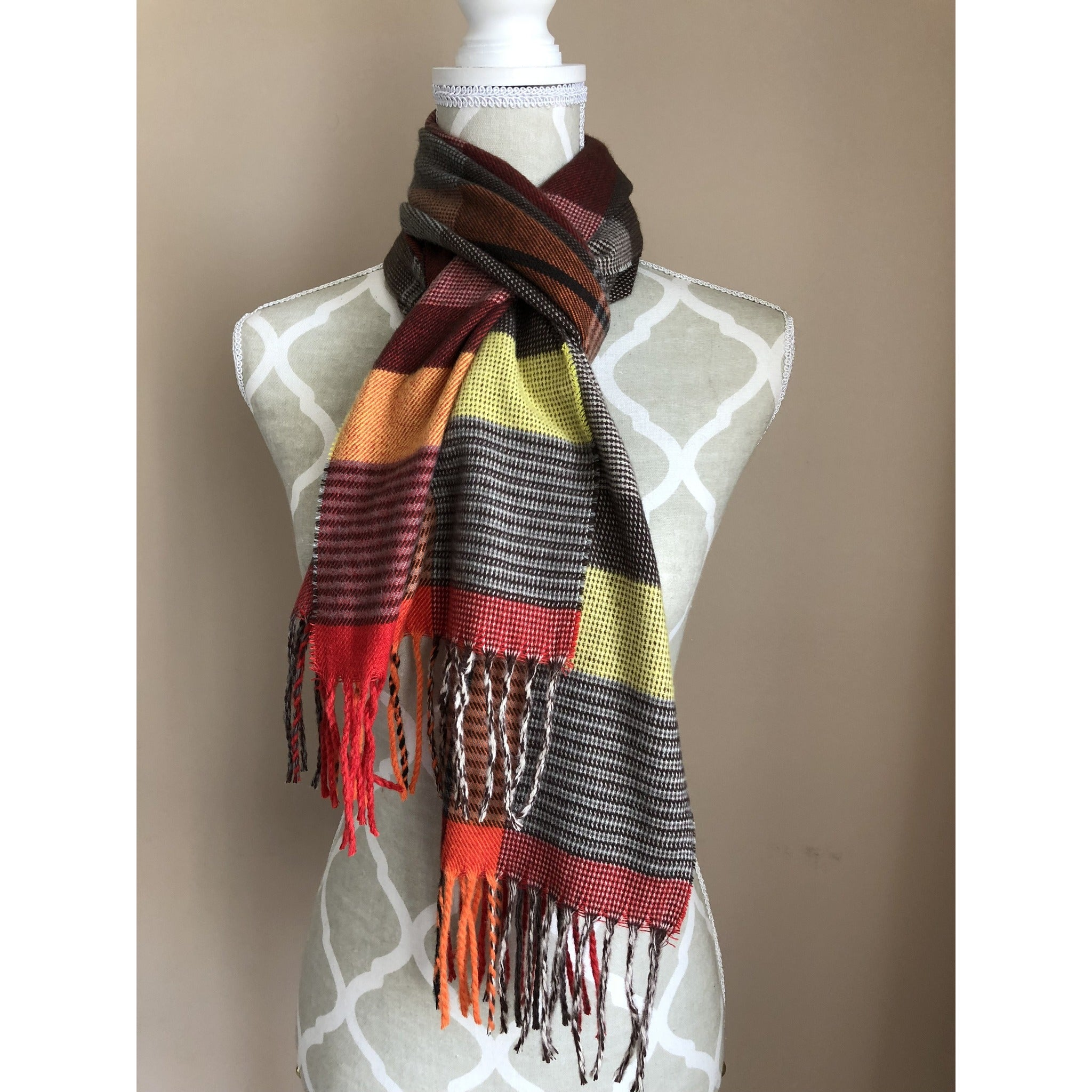 Fashion Women Rectangle Blanket Wrap - Burgundy and Orange