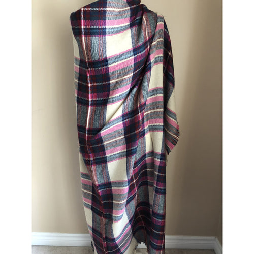 Fashion Women Oversize Square Blanket Wrap - Pink