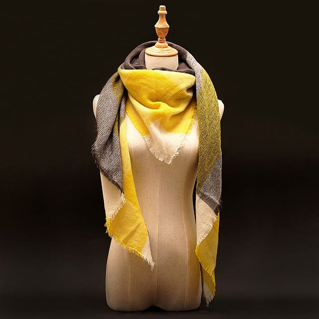 Fashion Women Oversize Square Blanket Wrap - Yellow