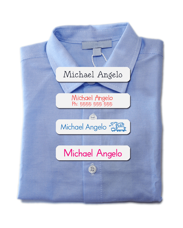 Blue school shirt with iron-on clothing labels