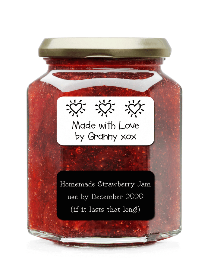 Jar of homemade jam with handmade label