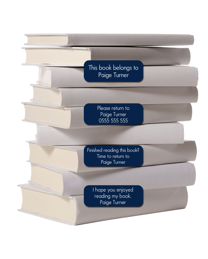 Pile of white books with book labels