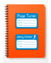 Orange school exercise book with blue name and subject labels