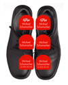 Black school shoes with red name labels for shoes
