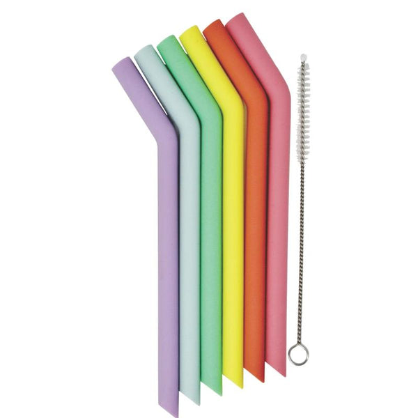 Set of 6 Mini Silicone Straws