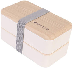 2 Layered Stacked Bento Box with wood style lid