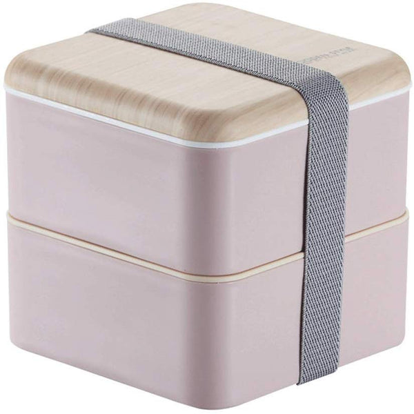 2 Layer Stacked Square Bento Box with Wood Grain lid