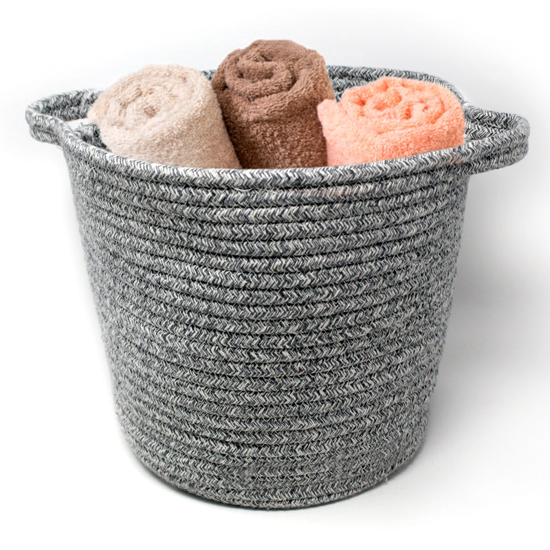 Light Grey Woven Storage Basket