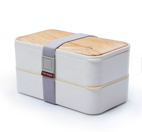 Bento Box with Wood Designed Lid