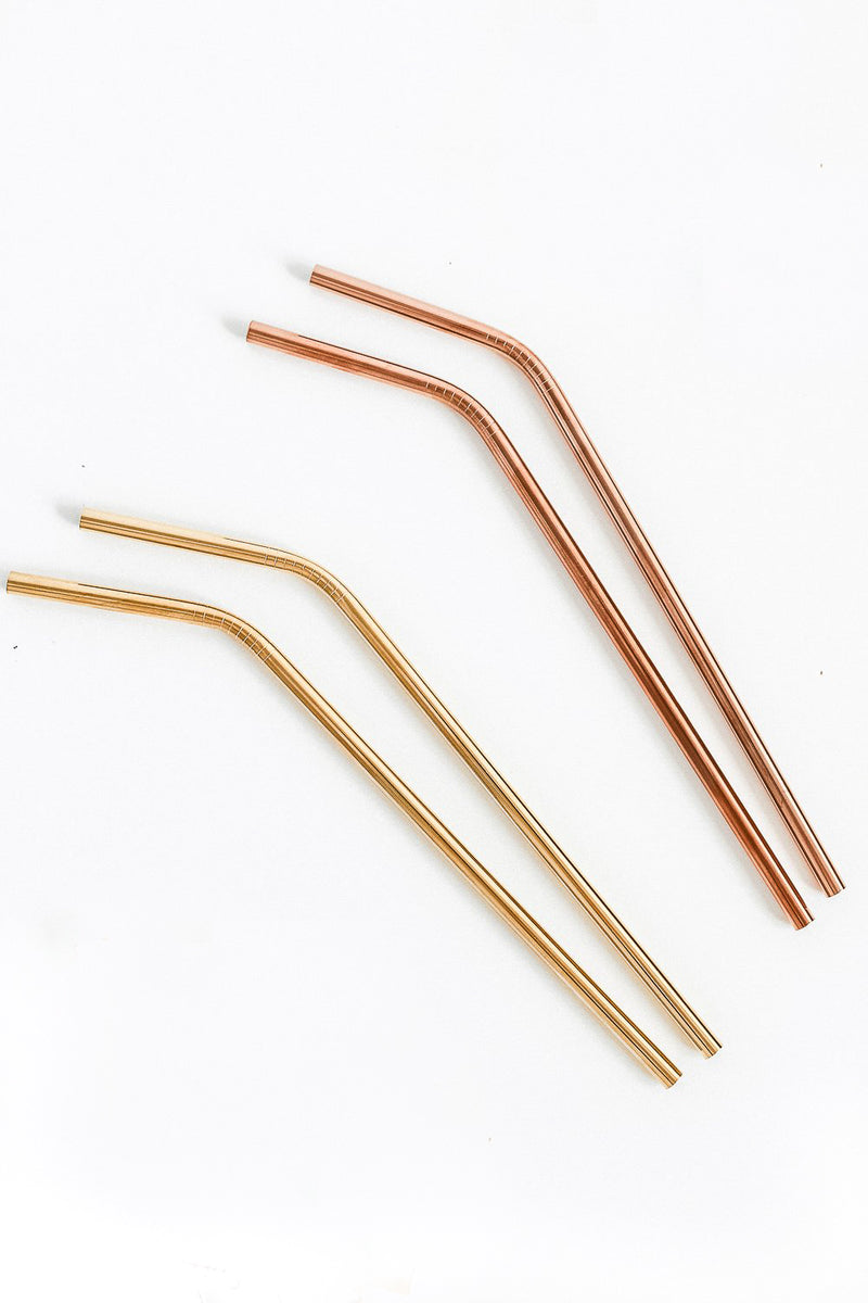 Gold and Rose Gold Metal Drinking Straws