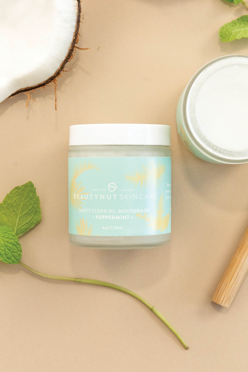 This refreshing mint-infused coconut oil pull is formulated to help support happy teeth, gums, and overall oral health.