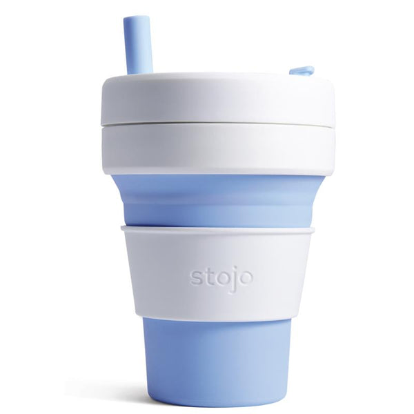 Large Reusable Collapsible Coffee Cup, with silicone straw