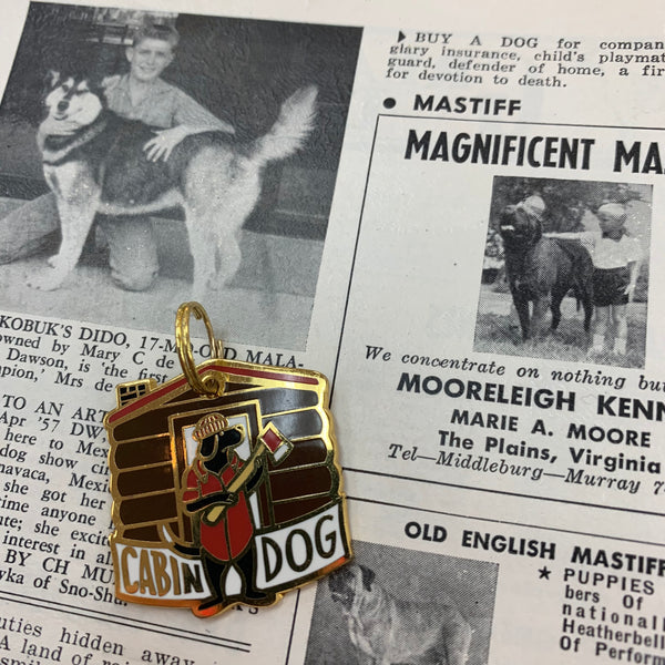 Pet Collar Charm- Cabin Dog