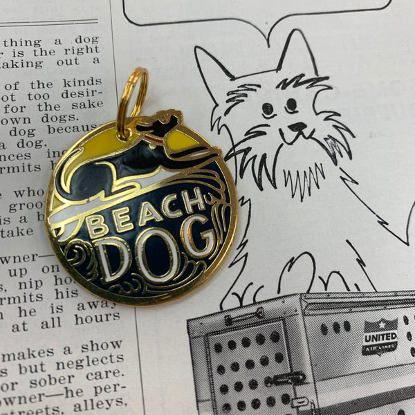 Pet Collar Charm- Beach Dog