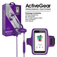 HyperGear ActiveGear Wireless Earphones + Sport Armband Set - Purple