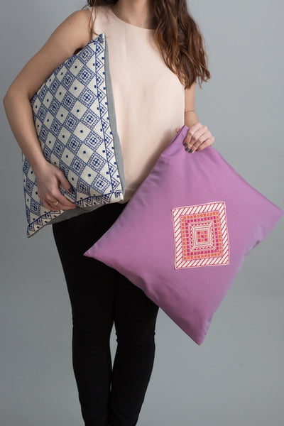 Darzah Tatreez Pillow Case in Purple and Red