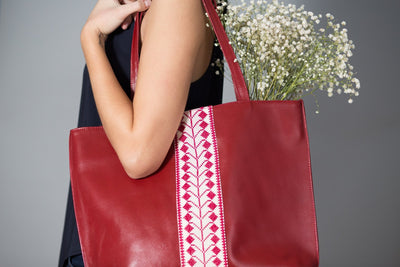 Darzah Red Leather Tote Bag