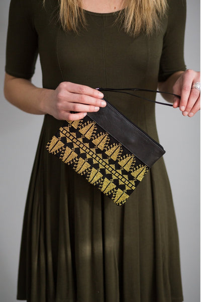 Darzah Gold Cypress Clutch