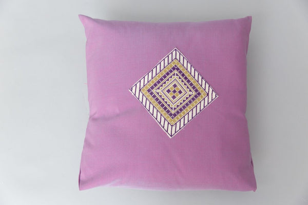 Darzah Tatreez Pillow Case in Purple and Gold