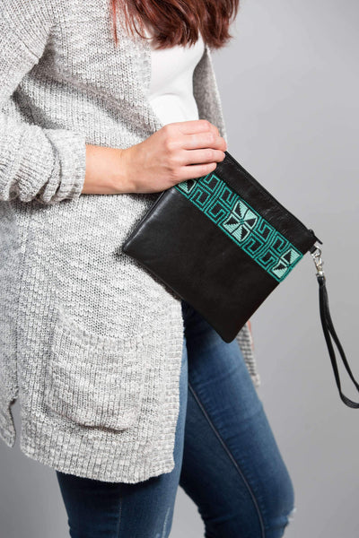 Darzah Teal Egypt Clutch