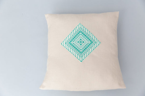 Darzah Tatreez Pillow Case in Teal