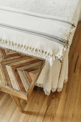 Natural with Black stripes Cotton Herringbone Throw