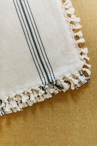 Natural with Black stripes Cotton Herringbone Throw - Artisan Village Design