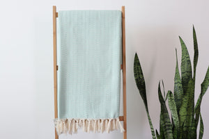Feather Chevron Ultra Soft Throw - Mint