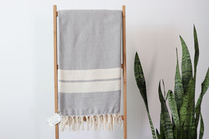 Ana Cotton Double Stripes Throw  Towel - Light Gray