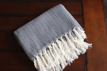 Feather Chevron Ultra Soft Throw - Dark Gray
