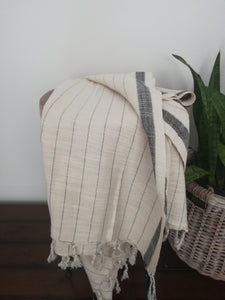 Ela Natural / Black  Handwoven Pure Cotton Towel Black Stripes - Artisan Village Design