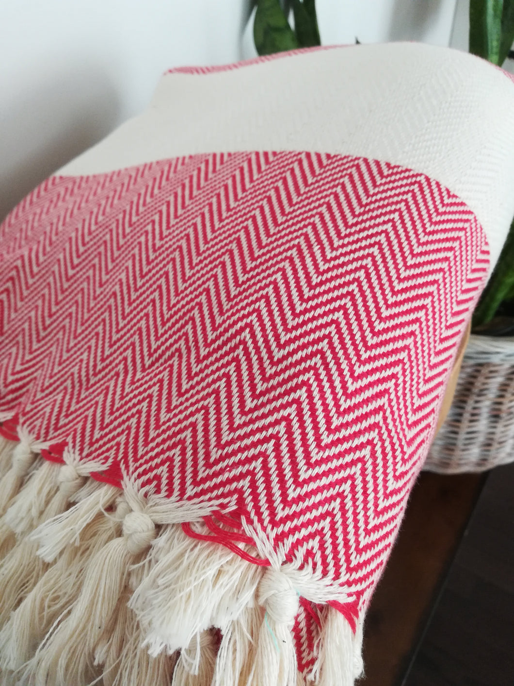 Red Herringbone Full Size Throw - Artisan Village Design