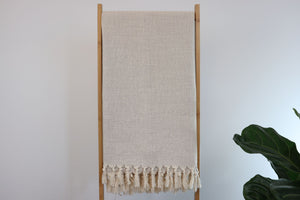 Artisan Cotton/linen Authentic Handwoven Towel  - Natural - Artisan Village Design