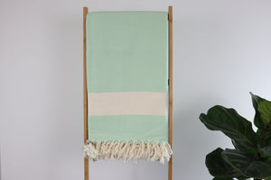 Herrin Cotton Blanket Herringbone-Weave - Pistachio Green