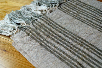Mira Green linen/ Cotton Handwoven Towel - Artisan Village Design